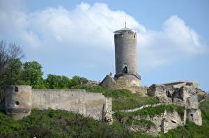Обои Польша Замки Руины Башня Castle Iłża, city Iłża Города