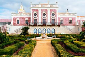 Фотографии Португалия Сады Фонтаны Дворец Кустов Pousada Palacio De Estoi Faro Города