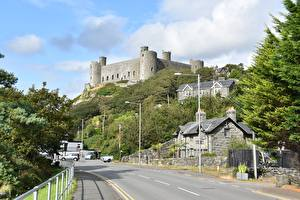 Картинка Дороги Замки Великобритания Уэльс Harlech Castle, County Gwynedd region Города