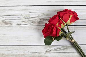 Картинки Розы Букет Красные Доски цветок