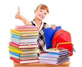 Фото Школа Пальцы Девочки Книги Тетрадь Взгляд Белый фон Дети