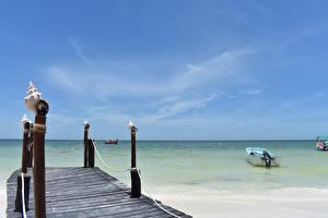 Картинки Море Пристань Ракушки Мексика Горизонта Isla Holbox