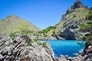 Фотография Испания Залив Скале Sa Calobra Bucht in Palma de Mallorca Природа