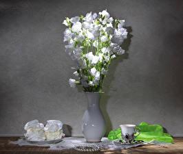 Обои Натюрморт Колокольчики - Цветы Пирожное Вазы Белый Чашке Еда