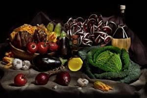 Фото Натюрморт Баклажан Капуста Лук репчатый Томаты Овощи Пища