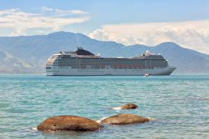 Картинка Камни Море Корабль Круизный лайнер