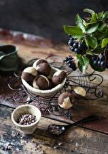 Фотографии Сладкая еда Печенье Ягоды Ложка Еда