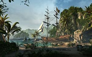 Картинка Тропики Корабль Парусные Лодки Assassin's Creed 4 Black Flag Пальма Скалы Бухты компьютерная игра 3D_Графика