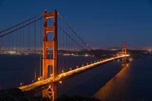 Фото США Мост Лос-Анджелес Калифорнии Ночные Golden Gate Bridge Города