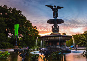 Обои США Вечер Фонтаны Скульптуры Нью-Йорк Bethesda Fountain Природа