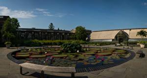 Обои США Сады Водяные лилии Пруд Дома Скамейка Longwood Gardens Природа