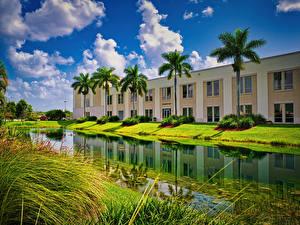 Фотография США Дома Флорида Майами Водный канал Пальм International University город