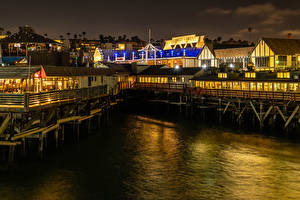 Обои Америка Дома Пристань Калифорния Залив Кафе Ночь Redondo Beach Города