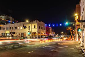 Фото Штаты Здания Дороги Калифорния Ночные Уличные фонари Улица Venice Beach город