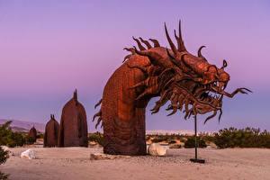 Картинка США Парк Скульптуры Змеи Калифорнии Serpent Statue Anza-Borrego Desert State Park Природа