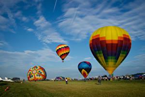 Фотографии Штаты Небо Калифорния Траве Воздушный шар Природа