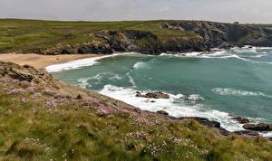 Картинка Великобритания Берег Волны Море Траве Kynance Cove Природа