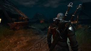 Фотография Воины Геральт из Ривии The Witcher 3: Wild Hunt С мечом Сзади Ночь Поселок Игры