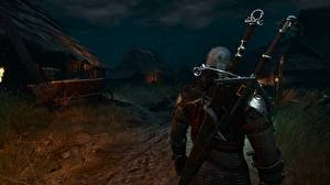 Фотография Воины Геральт из Ривии The Witcher 3: Wild Hunt С мечом Сзади Ночь Поселок 3D_Графика