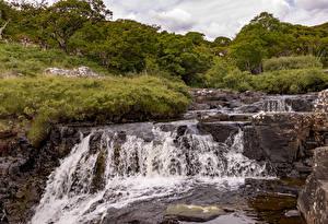 Фотографии Водопады Шотландия Eas Fors Waterfall