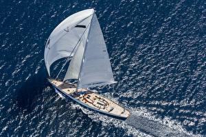 Фотографии Яхта Парусные Сверху