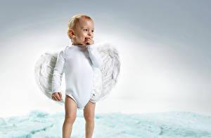 Картинка Ангелы Мальчики Младенцы Улыбается Дети
