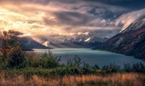 Фотография Аргентина Гора Пейзаж Залива Облачно Трава Природа