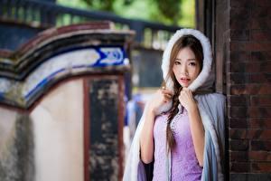 Фото Азиатки Размытый фон Взгляд Платья Шатенка Косы молодая женщина