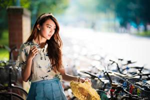 Картинки Азиаты Боке Поза Шатенки Девушки