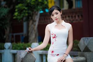 Фотографии Азиаты Сидит Платье Взгляд Боке Брюнеток молодая женщина