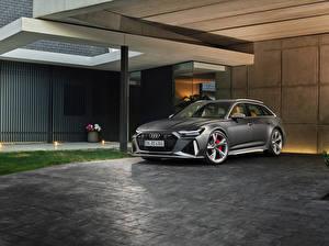 Фотографии Audi Серый Универсал 2019 RS 6 Avant Worldwide машина