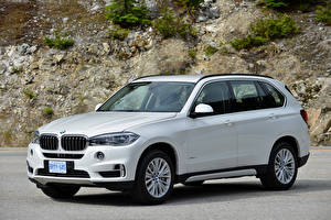 Картинки BMW Белых 2013-18 X5 xDrive50i Worldwide Автомобили