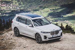 Обои BMW Белых Металлик Универсал 2019 X7 xDrive30d Design Pure Excellence Worldwide Автомобили