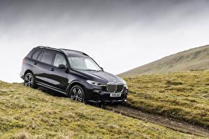 Картинки BMW Черная Металлик Универсал 2019 X7 xDrive30d M Sport машина