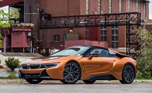 Обои для рабочего стола BMW Оранжевый Металлик Родстер 2019 i8 Автомобили