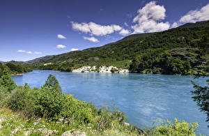 Обои Чили Озеро Холмы Трава Patagonia Природа