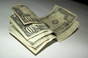 Обои Крупным планом Купюры Деньги Доллары Размытый фон 10 Еда картинки