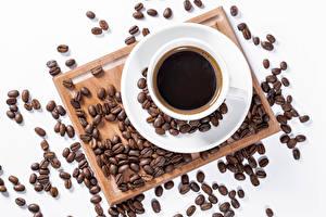 Фото Кофе Белым фоном Чашка Зерно Пища