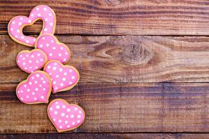 Фотографии Печенье День всех влюблённых Сердечко Доски Шаблон поздравительной открытки Пища