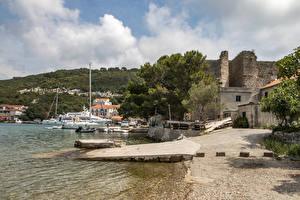 Картинка Хорватия Здания Берег Пирсы Mljet Island город