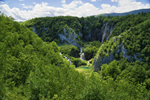 Фото Хорватия Парк Лес Водопады Скала Plitvice Lakes National Park Природа