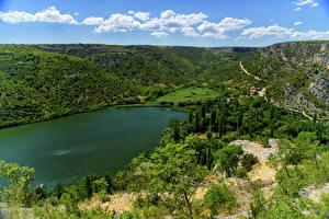 Картинки Хорватия Парки Озеро Холмы Krka National Park Природа