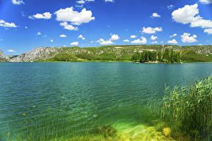 Картинки Хорватия Парки Озеро Небо Облака Krka National Park Природа