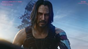 Фото Cyberpunk 2077 Keanu Reeves Мужчины Прически Бородой Усы человека Взгляд Красивые компьютерная игра Знаменитости