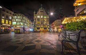 Обои для рабочего стола Дания Копенгаген Здания Городской площади Ночные Луны Скамья город