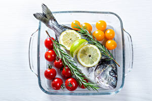 Фотографии Рыба Томаты Лимоны