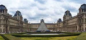 Картинка Франция Ландшафтный дизайн Париже Дворец Музей Louvre Museum город