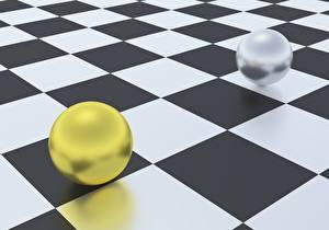 Обои Геометрия Шарики Двое 3D Графика картинки