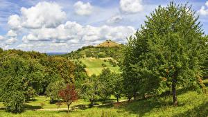 Фото Германия Поля Небо Холмы Дерева Облачно Hepsisau Природа