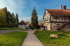 Картинки Германия Дома Лестницы Трава Ель Marbach Ludwigsburg Города